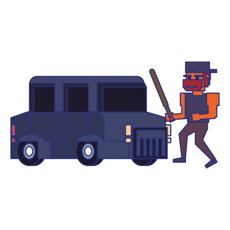 Retro videogame pixelated gangster with bat and car cartoons isolated vector illustration graphic design