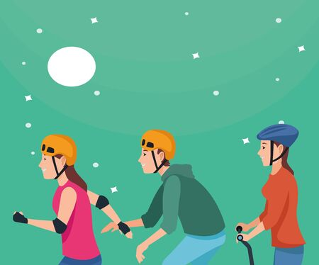 Young people riding with skateboard, electric scooter and skates wearing accesories at night with moon and stars ,vector illustration graphic design.