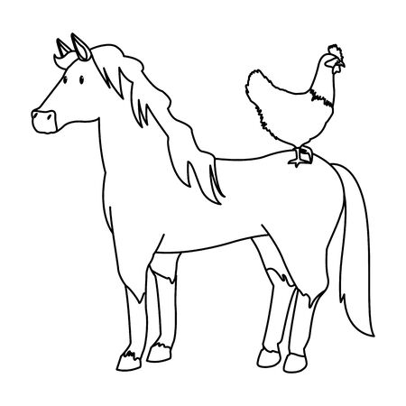 farm, animals and farmer hen over a horse icon cartoon in black and white vector illustration graphic design Foto de archivo - 134732954