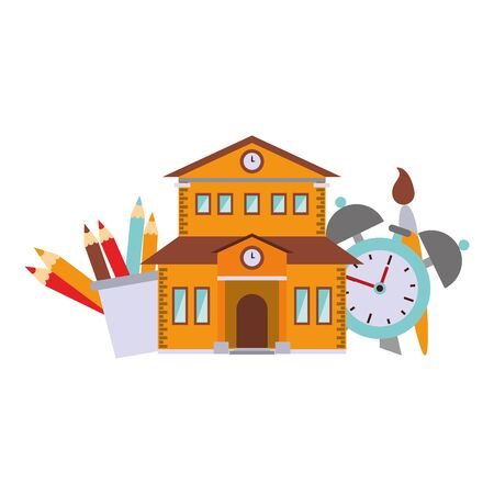 Back to school education building and alarm clock and brush wirh pencil colors cartoons vector illustration graphic design Illustration