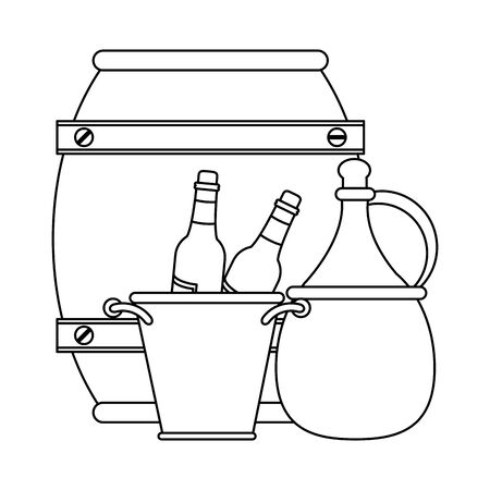 ice bucket with wine bottles and wooden barrel over white background, vector illustration Foto de archivo - 134737656