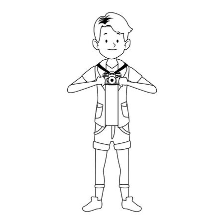 cartoon happy boy standing with a photographic camera over white background, vector illustration