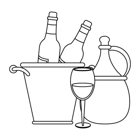 ice bucket with wine bottles and jar over white background, vector illustration Foto de archivo - 134739222