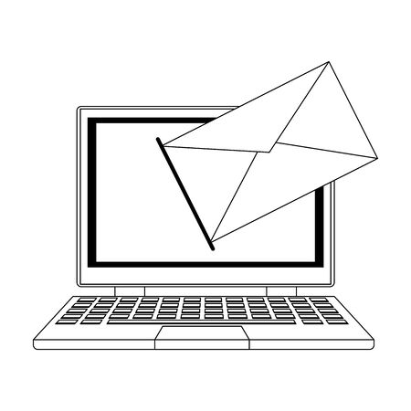 laptop computer with envelope icon over white background, vector illustration Illustration