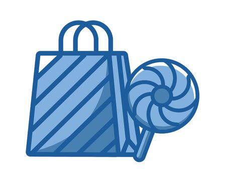 sweet lollipop candy and shopping bag vector illustration design