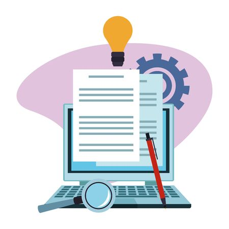 laptop computer and magnifying glass with business related icons around over white background, colorful design , vector illustration