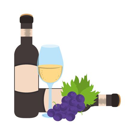 bunch of grapes with wineglass and bottles over white background, vector illustration Foto de archivo - 134747522