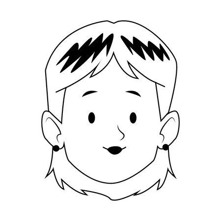 cartoon woman face icon over white background, vector illustration Archivio Fotografico - 134809089