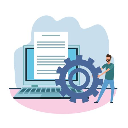 big laptop computer and man pulling a gear wheel over white background, colorful design , vector illustration