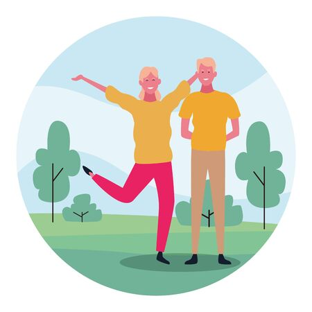 cartoon happy couple having fun in the park over white background, colorful design. vector illustration Фото со стока - 134743669