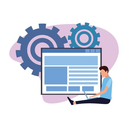 avatar man using a laptop computer over web windows and gears wheel and white background, colorful design , vector illustration