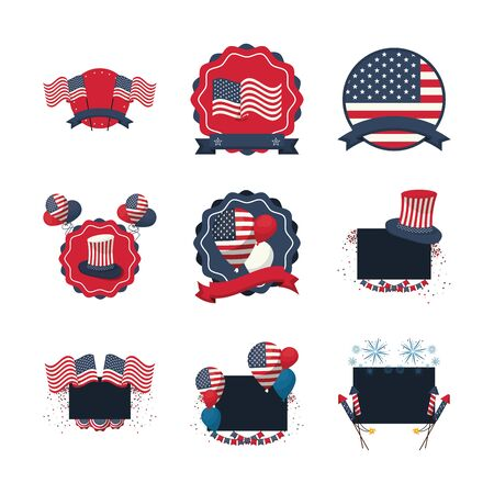 bundle of usa set icons vector illustration design 일러스트