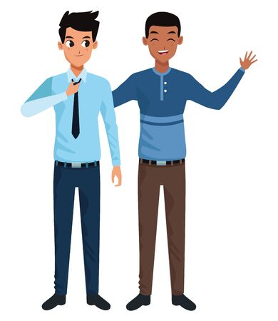 Young male friends smiling and greeting with formal clothes vector illustration graphic design Archivio Fotografico - 134749594