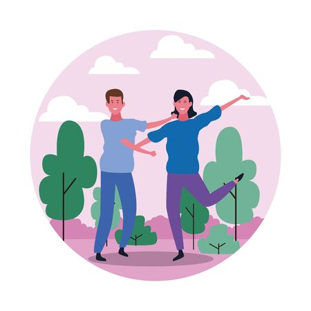 happy young couple having fun in the park over white background, colorful design. vector illustration Фото со стока - 134750012