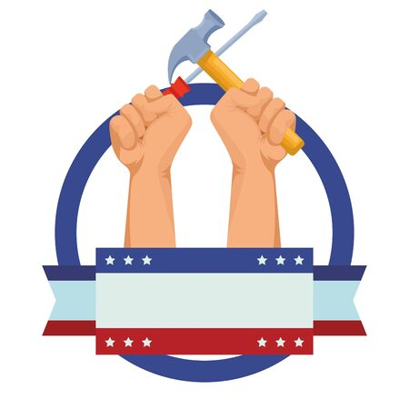 Construction workers hands holding hammer and screwdriver tools ,vector illustration graphic design.