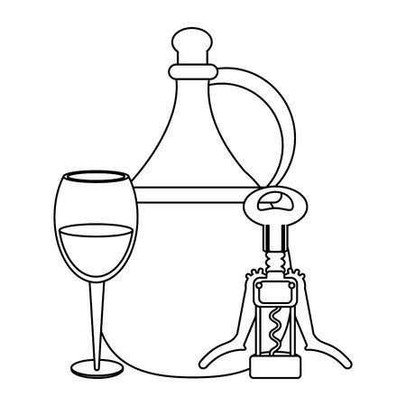 juf of wine with glass and Corkscrew over white background, vector illustration