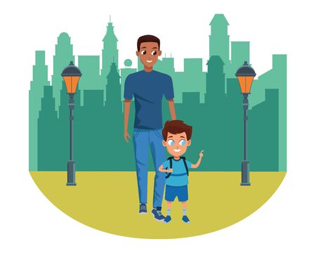 Family single father with kid holding school backpack in the city park scenery background vector illustration graphic design Archivio Fotografico - 134750973