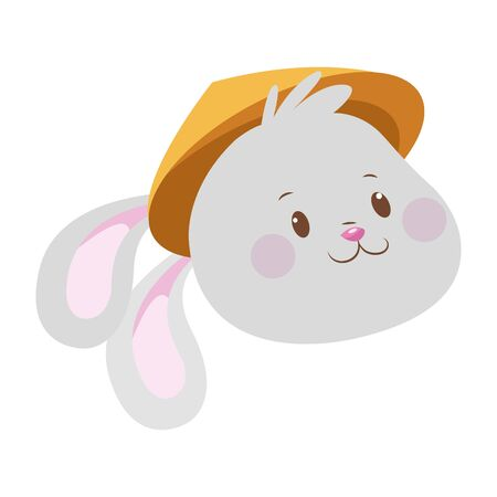 cartoon rabbit with oriental hat over white background, colorful design. vector illustration