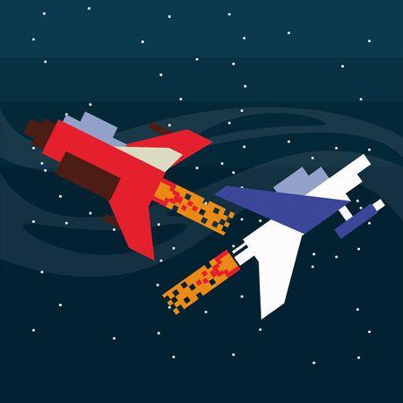 video game spaceships flying in pixelated scene vector illustration design 向量圖像