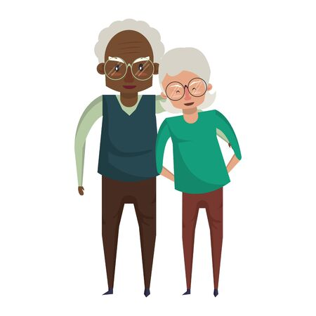 grandparents senior old retirement people grandmother and grandfather couple love wearing glasses cartoon vector illustration graphic design