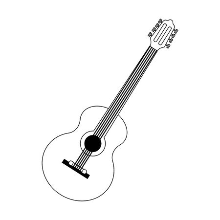 guitar instrument icon over white background, vector illustration