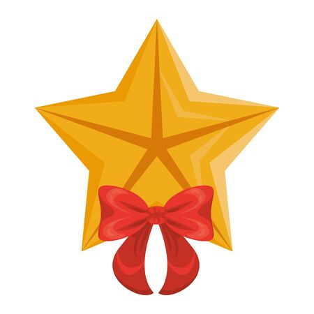 quality star with bow commercial isolated icon vector illustration design