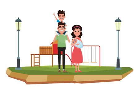 family avatar father with glasses carrying a boy in the shoulder and woman with bandana holding a baby profile picture cartoon character portrait outdoor over the grass in the playground with slide, swing and street lamps vector illustration graphic design Archivio Fotografico - 134753647