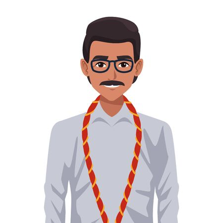 indian asian religion oriental culture, man with moustache wearing glasses isolated cartoon vector illustration graphic design