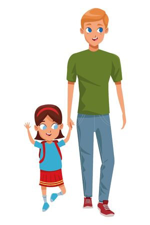 Family single father with kid holding school backpack vector illustration graphic design Archivio Fotografico - 134753660