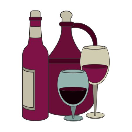 jug and bottle of wine and wineglass icon over white background, vector illustration Foto de archivo - 134753937