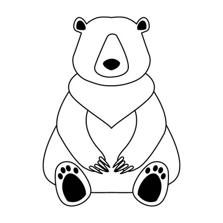 Cartoon wild bear icon over white background, black and white design, vector illustration