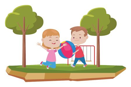 Happy kids boy and girl smiling and playing with ball at park with playgrounds ,vector illustration graphic design.
