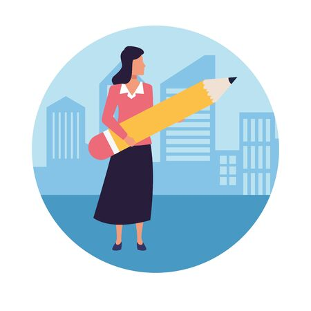 Executive businesswoman holding big pencil in the city round icon vector illustration graphic design.