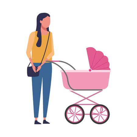 avatar woman with baby carriage over white background, vector illustration Archivio Fotografico - 134753727