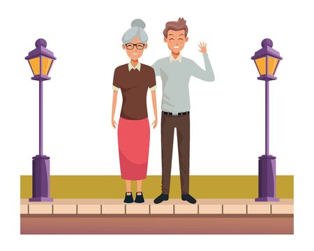 Family grandmother with adult son smiling cartoon on the street urban scenery ,vector illustration graphic design. Archivio Fotografico - 134753728