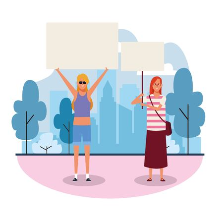 cartoon women protesting with blank posters in the park over white background, colorful design. vector illustration