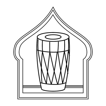 drum mridangam with hanging lantern and silhouette into a asiatic shape frame icon cartoon isolated in black and white vector illustration graphic design Archivio Fotografico - 134753752