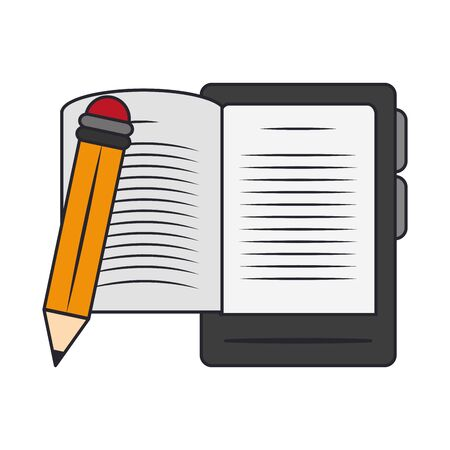 electronic book reader device and pencil over white background, vector illustration