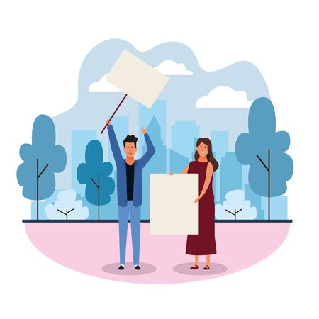 cartoon man and woman protesting with blank posters in the park over white background, colorful design. vector illustration