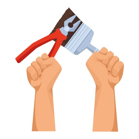 Construction workers hands holding plier and paint brush tools vector illustration graphic design.