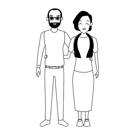 cartoon old couple icon over white background, vector illustration Иллюстрация