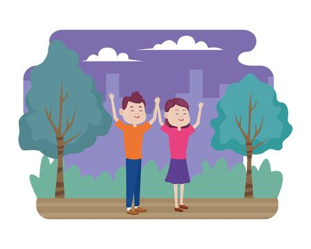 young couple characters in the field vector illustration design 向量圖像