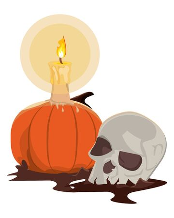 halloween pumpkin with candle and skull vector illustration design