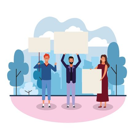 cartoon happy young people protesting with blank posters in the park over background, colorful design. vector illustration