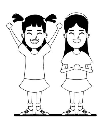 two children girl with hands up and tails and girl with bandana smiling profile picture cartoon character portrait in black and white vector illustration graphic design