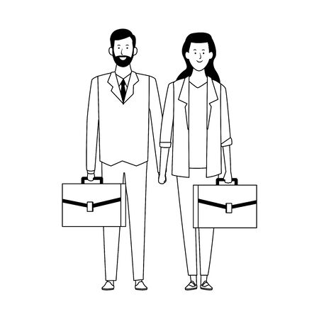 cartoon business woman and man standing with portfolios over white background, flat design. vector illustration Illustration