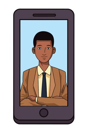 businessman afroamerican wearing suit avatar cartoon character profile picture portrait on a cellphone vector illustration graphic design