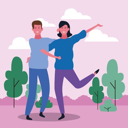 Cartoon adult couple having fun in the park, colorful design. vector illustration