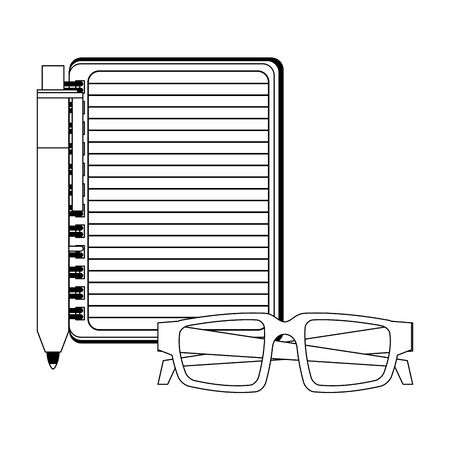 Blank notepad with pen and glasses isolated vector illustration graphic design 向量圖像