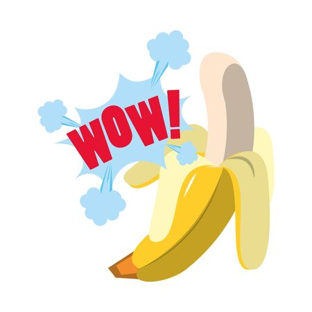 Pop art style design with banana fruit and wow explotion effect over white background, colorful design. vector illustration